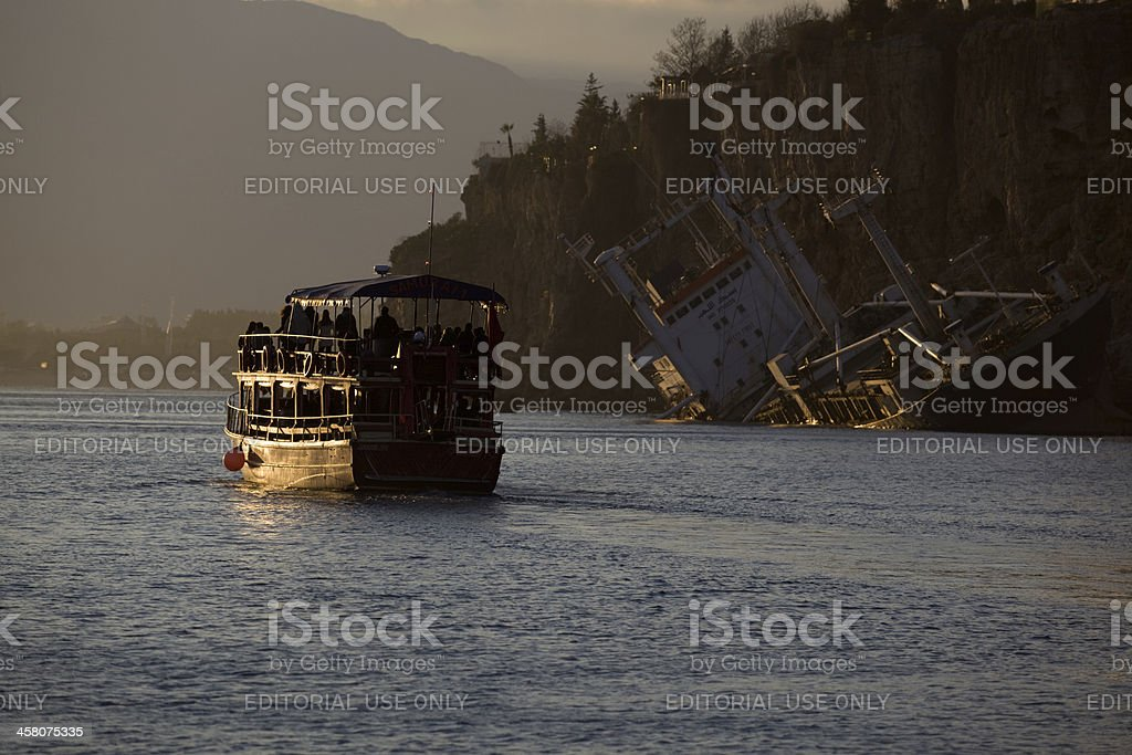Merchantman crash in Antalya harbor stock photo