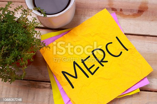 istock Merci, Motivational Words Quotes Concept 1068057246