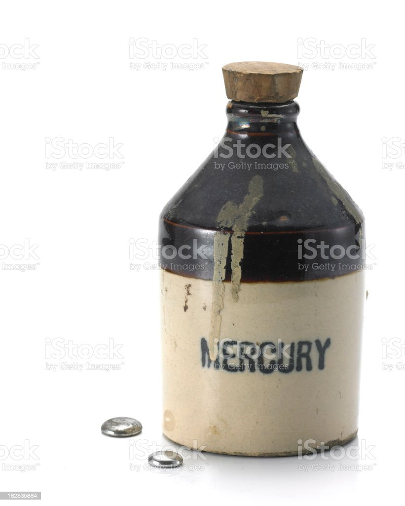 Mercury Bottle with droplets stock photo