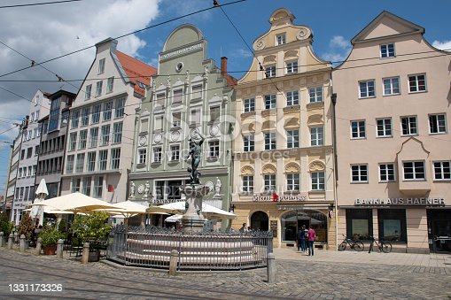 istock Mercury Fountain on Maximilianstrasse in Augsburg, Germany 1331173326