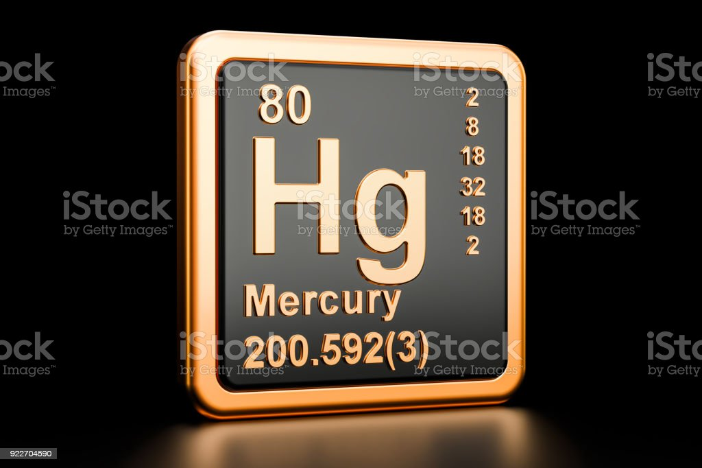 Mercury Hg Chemical Element 3d Rendering Isolated On Black