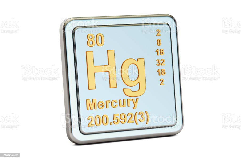 Mercury Hg, chemical element sign. 3D rendering isolated on white background stock photo