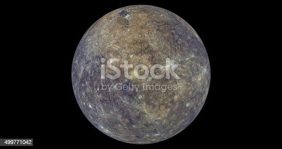 This is a 3d render of mercury in what It would look like in colour.
