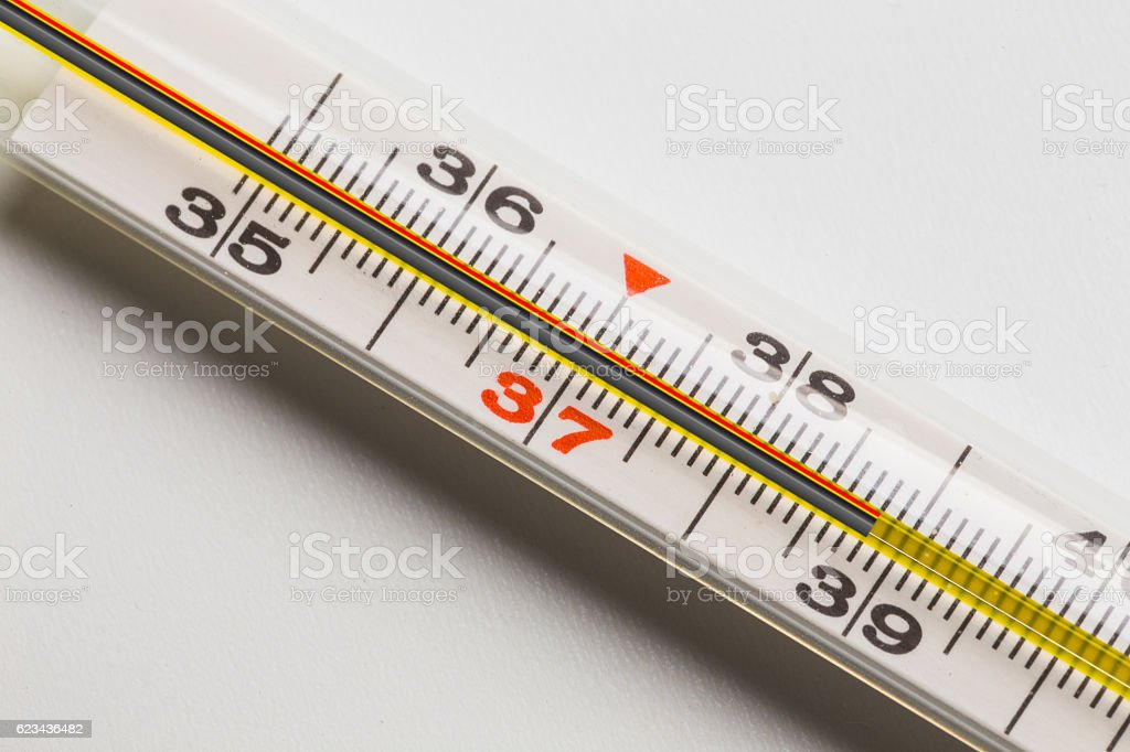 Mercury medical thermometer stock photo