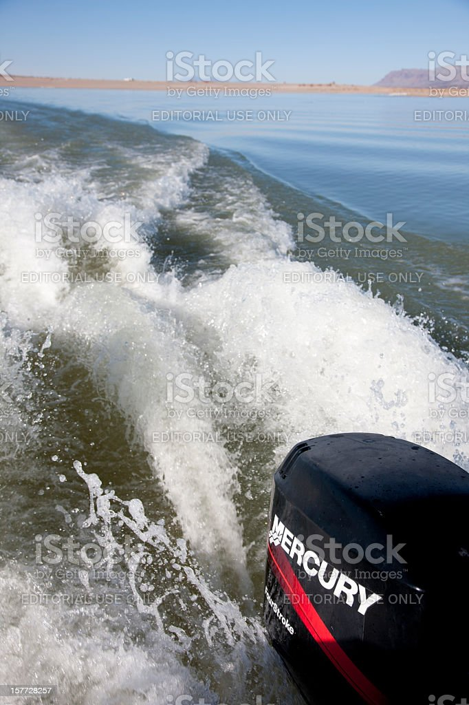 Mercury Outboard Motor Wake at Elephant Butte Lake State Park stock photo