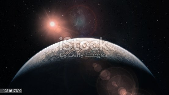 Mercury planet solar lens flare. Elements of this image furnished by NASA