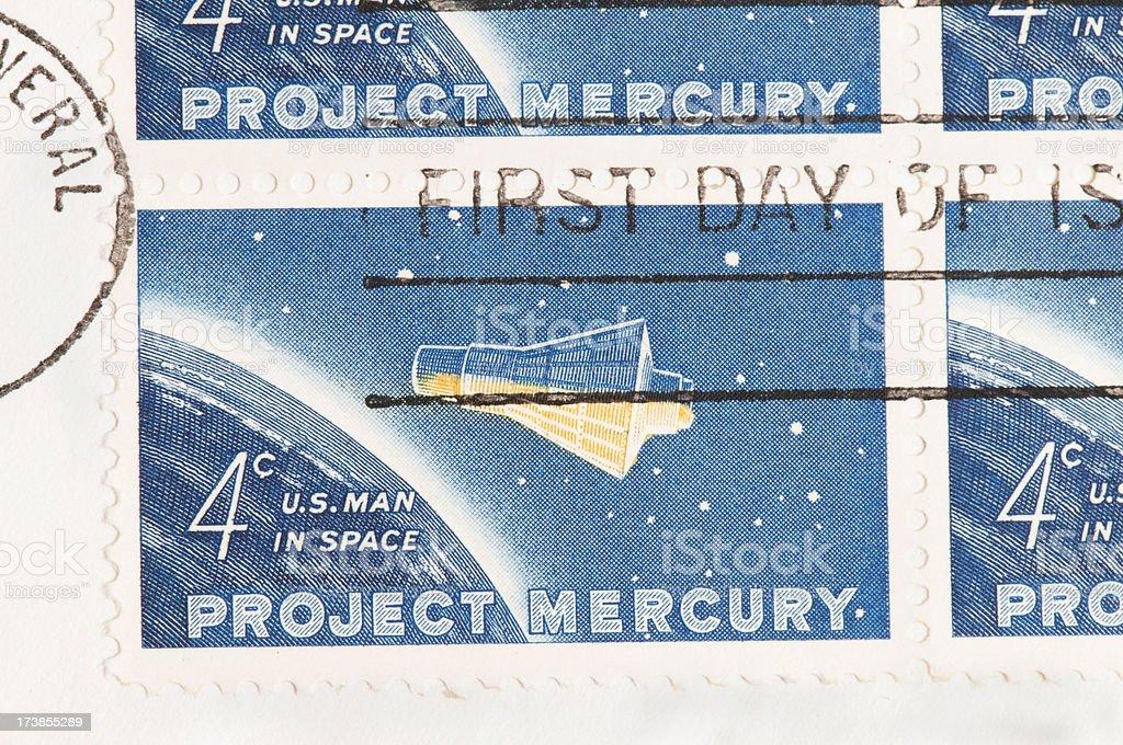 Mercury Project Stamp stock photo