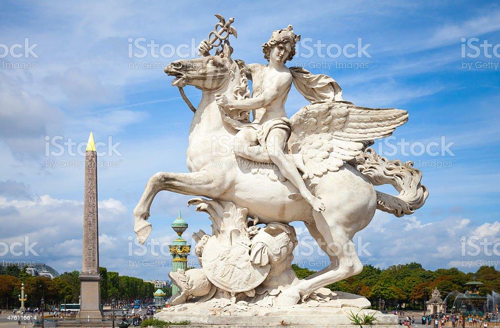 Mercury riding Pegasus sculpture, Paris, France stock photo
