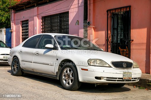 Emiliano Zapata, Mexico - May 23, 2017: White luxury car Mercury Sable in the city street.