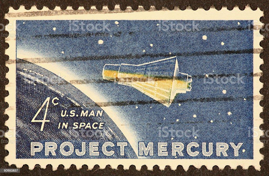 Mercury space capsule stamp stock photo