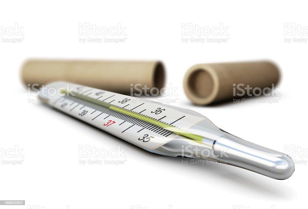 Mercury thermometer close-up stock photo