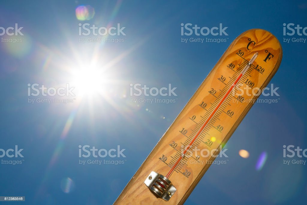 Mercury thermometer Summer heat Sun light stock photo