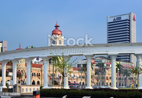Kuala Lumpur, Malaysia: the Padang - Merdeka Square Park ( Dataran Merdeka / Independence Square ), Sultan Abdul Samad Building and Agro Bank tower