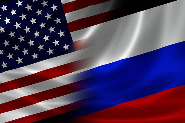 merged flag of usa and russia - russia stock pictures, royalty-free photos & images