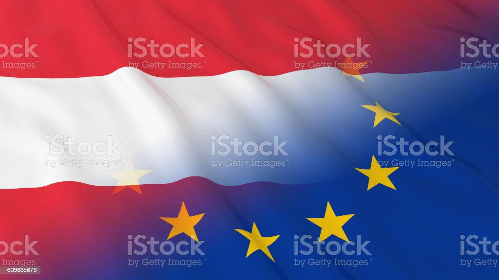 Merged Flags of Austria and the EU 3D Illustration vector art illustration