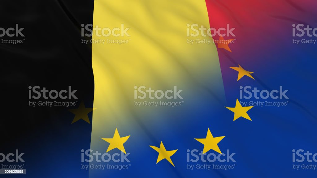 Merged Flags of Belgium and the EU 3D Illustration vector art illustration