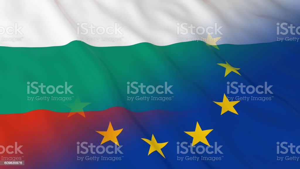 Merged Flags of Bulgaria and the EU 3D Illustration vector art illustration