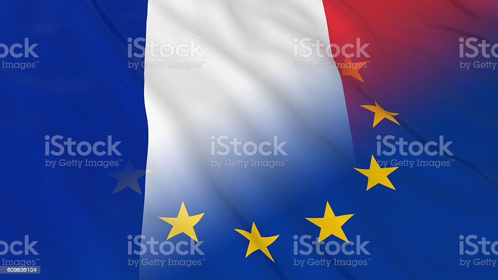 Merged Flags of France and the EU 3D Illustration stock photo