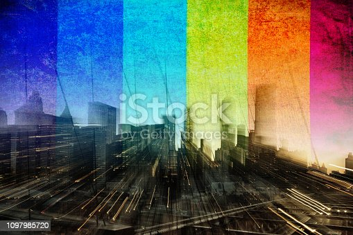 Merged image of  Brooklyn Bridge and rainbow flag merged in transition layer.