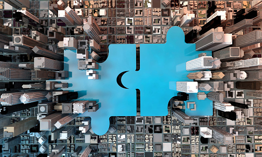 Merger And Acquisition Business Concept Join Puzzle 3d Stock Photo - Download Image Now
