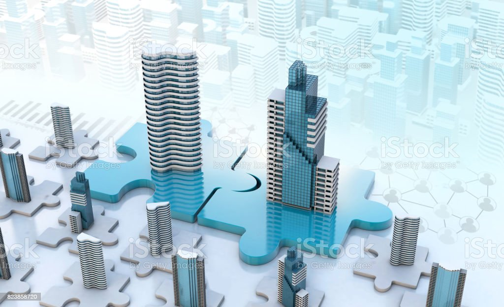 merger and acquisition business concepts, join puzzle pieces stock photo