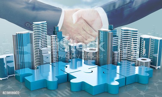 470163746 istock photo merger and acquisition business concepts, join puzzle pieces 823858922