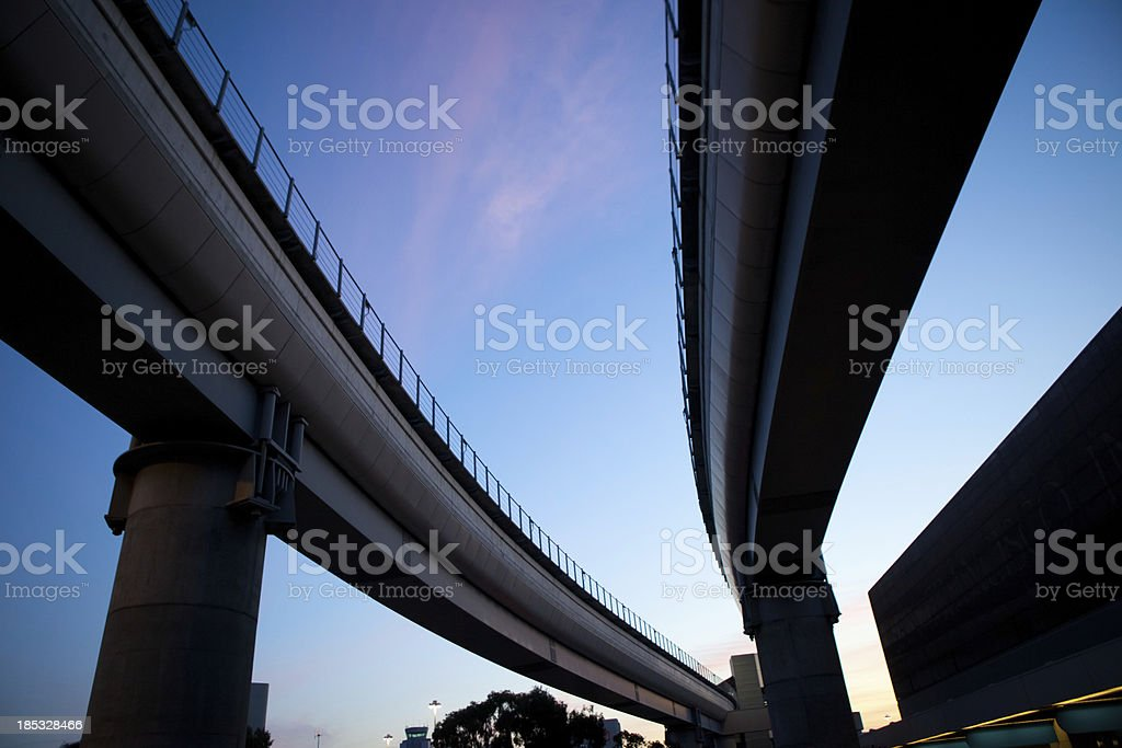 Merging roads Silhouette royalty-free stock photo