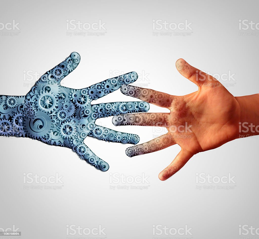 Merging with technology with man and machine coming together and...