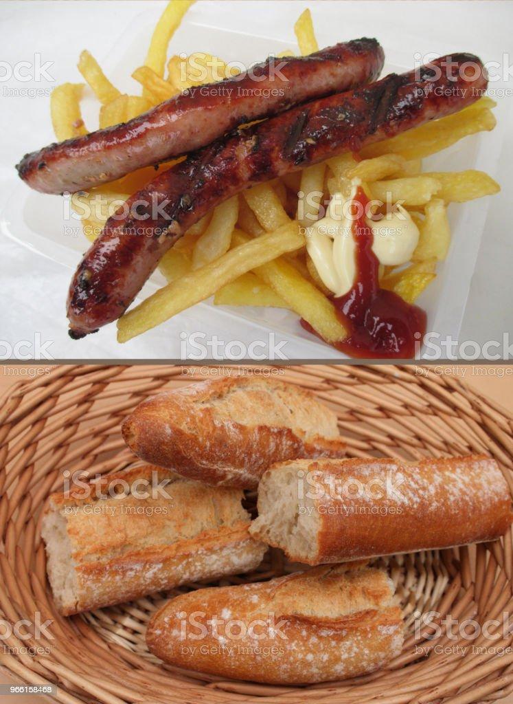 Merguez frites Crunch - Royaltyfri Bröd Bildbanksbilder