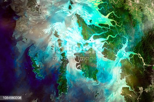 Mergui Archipelago. River delta of the Irrawady, a river that flows from north to south through Myanmar. Elements of this image furnished by NASA.