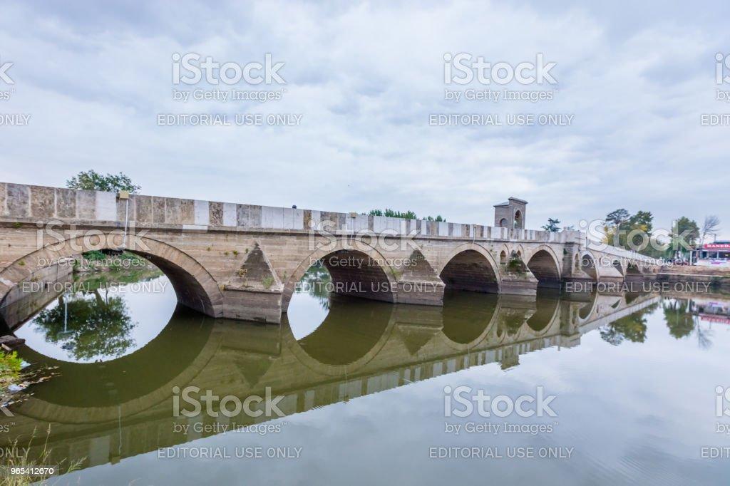 土耳其 Edirne 麥瑞克河麥瑞克大橋 - 免版稅光圖庫照片