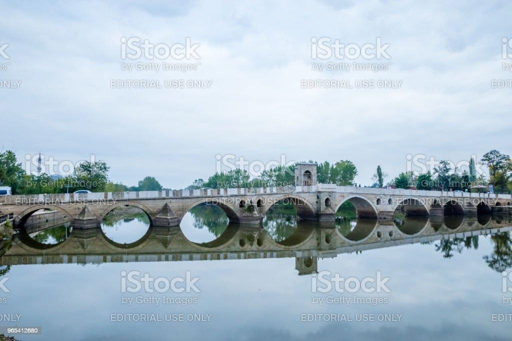 Meric Bridge on Meric River in Edirne, Turkey royalty-free stock photo