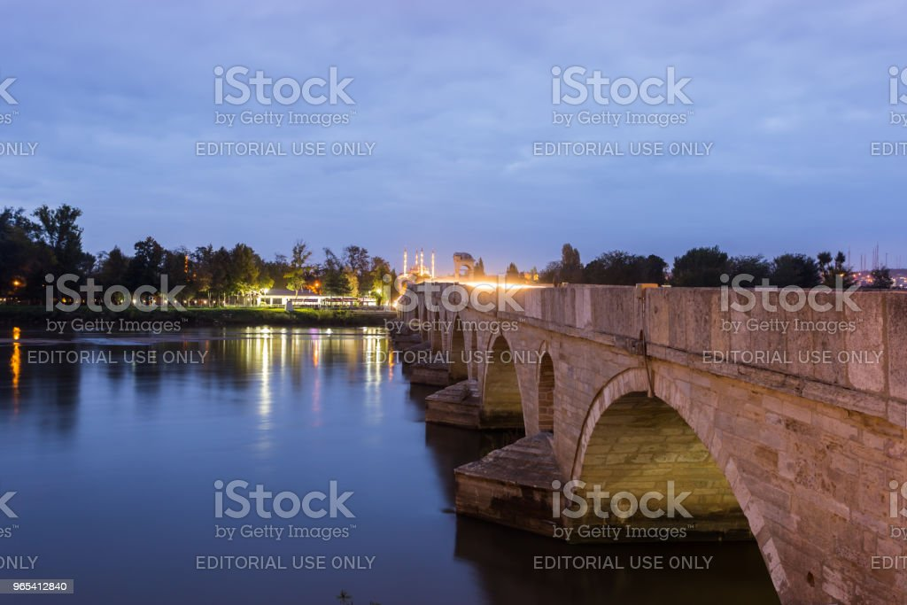 Meric Bridge on Meric River in Edirne, Turkey zbiór zdjęć royalty-free