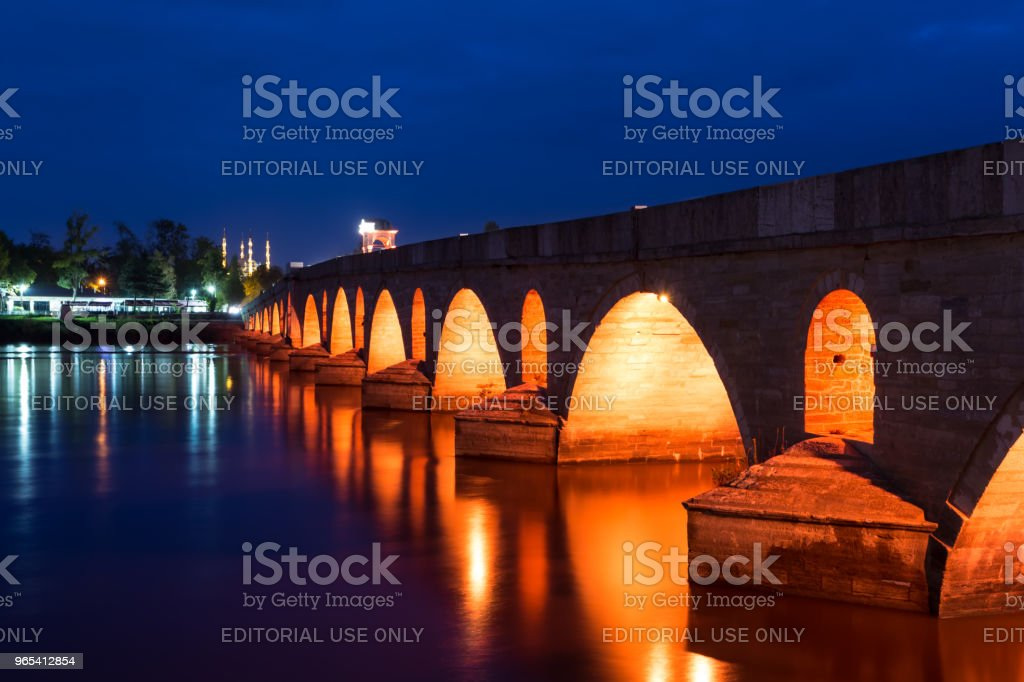Meric Bridge on Meric River in Edirne, Turkey zbiór zdjęć royalty-free