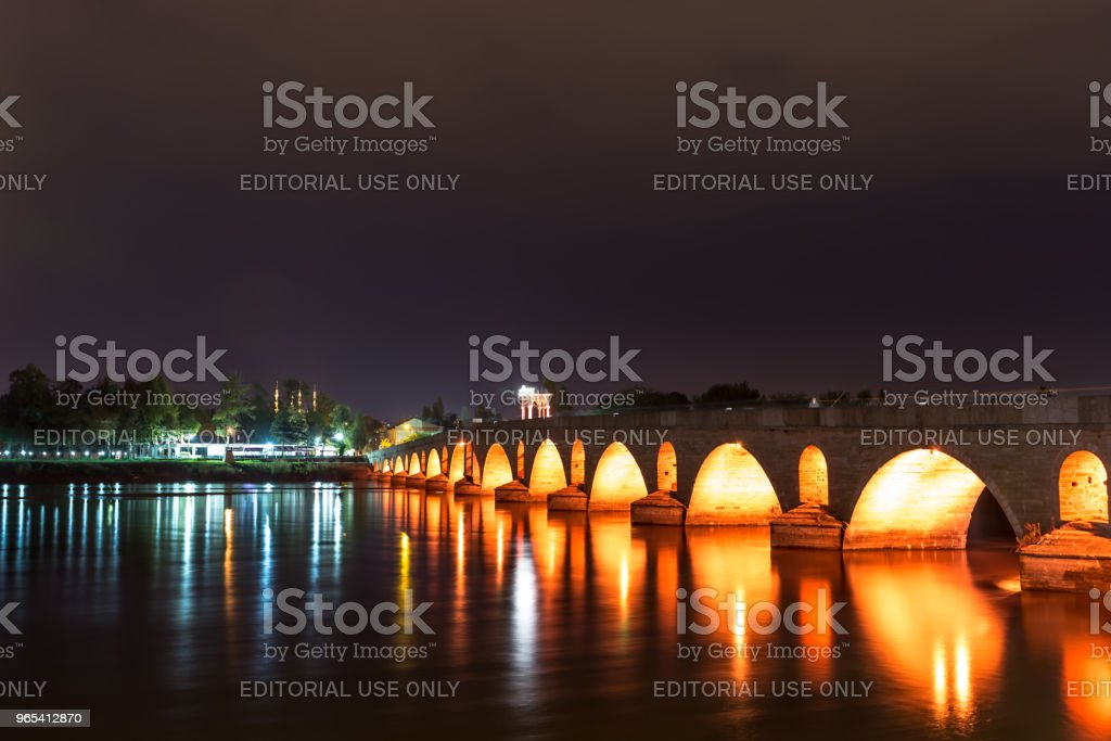 Meric Bridge on Meric River in Edirne, Turkey royalty-free stock photo
