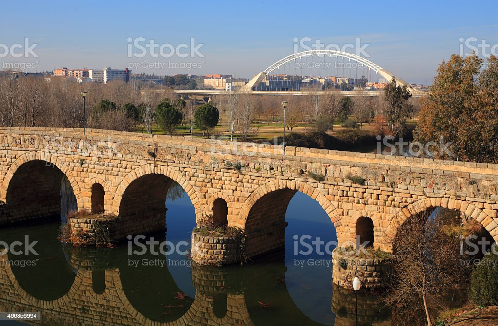 Merida, Badajoz Province, Extremadura, Spain. Roman Bridge. stock photo