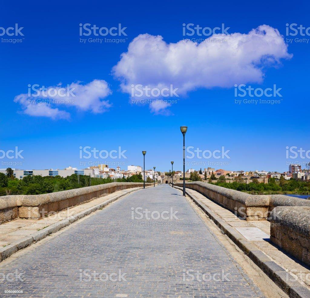 Merida in Spain entrance roman bridge stock photo