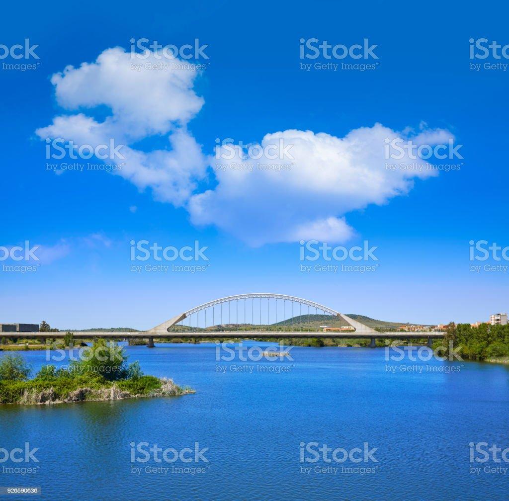 Merida in Spain Lusitania bridge over Guadiana stock photo