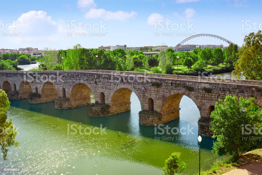 Merida in Spain roman bridge over Guadiana stock photo