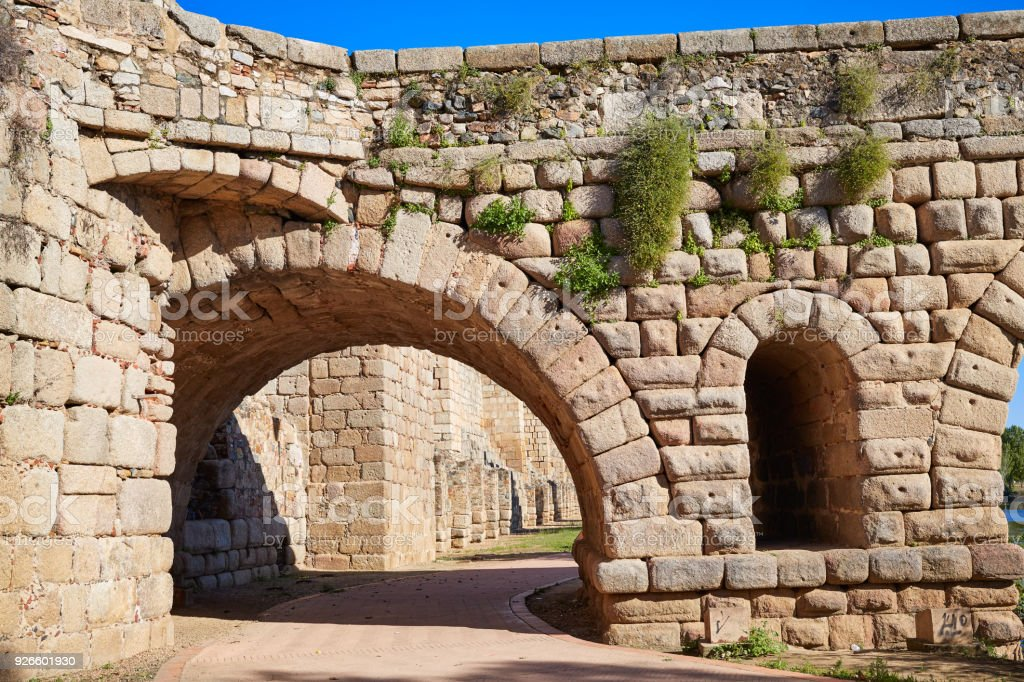 Merida in Spain roman bridge over Guadiana stock photo