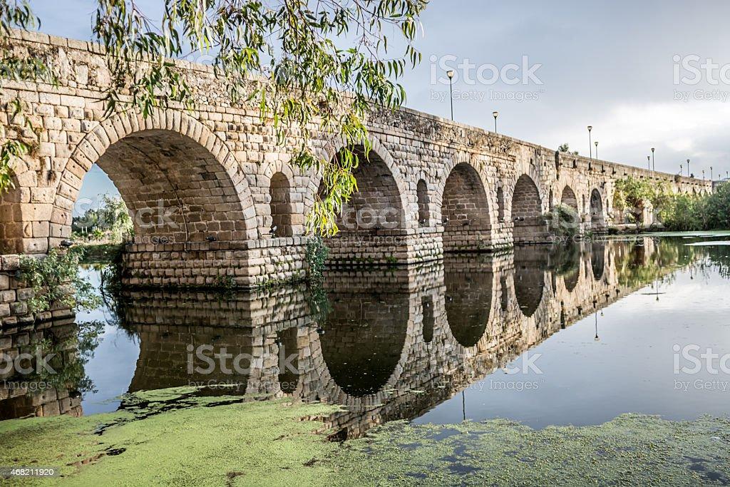 Merida Roman bridge in Spain stock photo