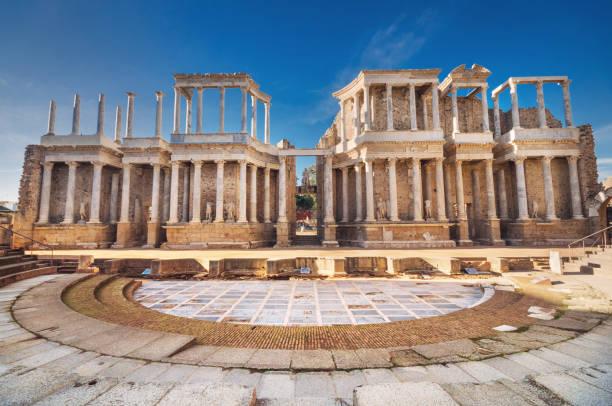 Merida roman theater, Merida, Extremadura, Spain. Merida roman theater, Merida, Extremadura, Spain. amphitheater stock pictures, royalty-free photos & images