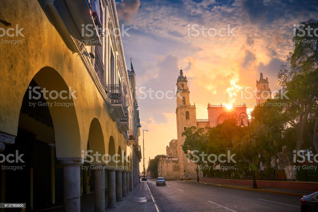 Merida San Idefonso cathedral Yucatan stock photo