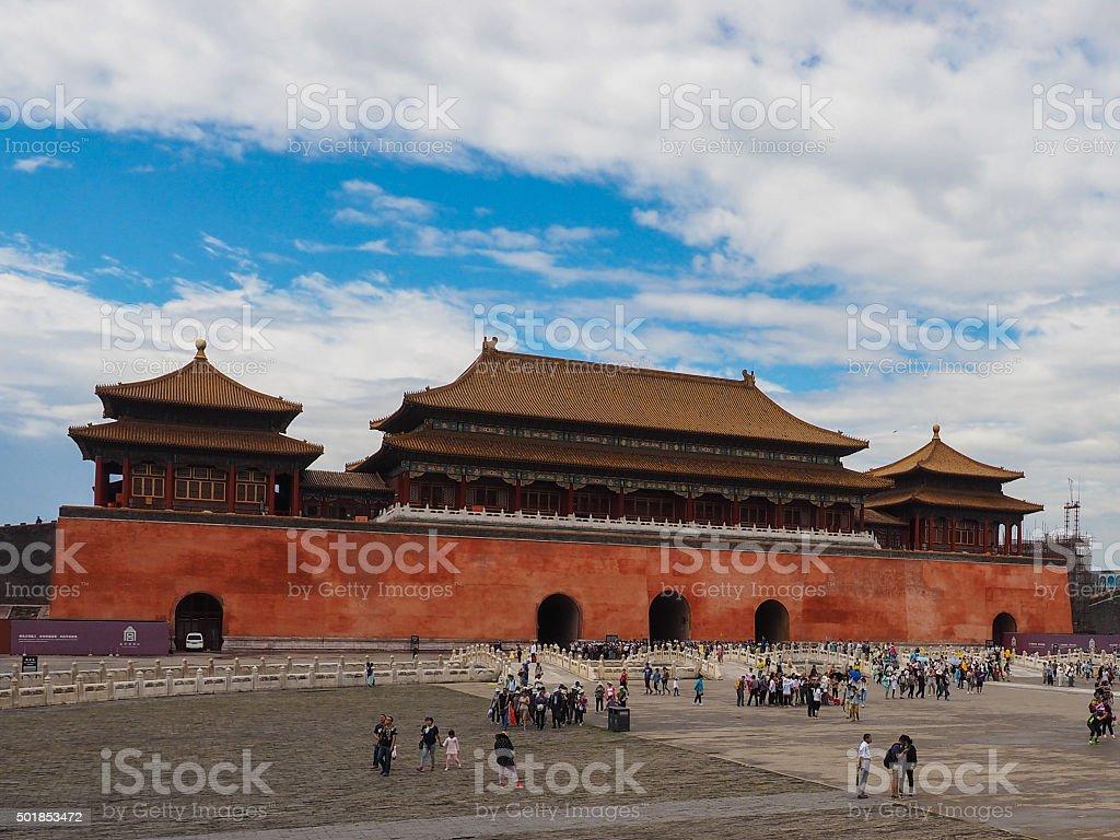 Meridian Gate Forbidden City in Beijing stock photo