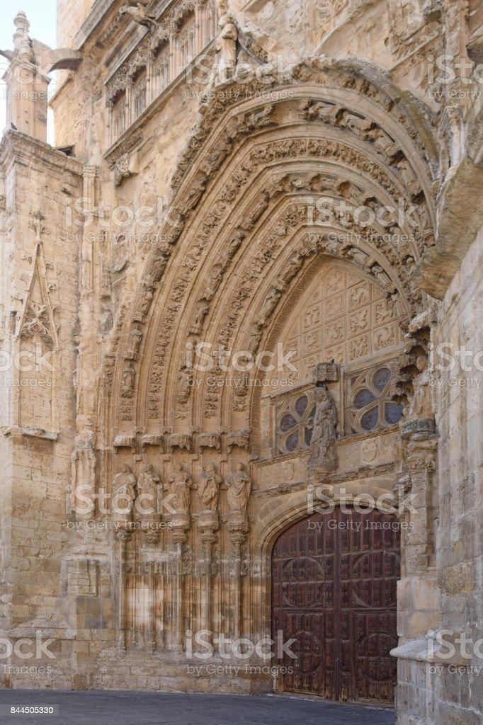 Meridional door of Catheral of Palencia, Castilla y Leon, Spain stock photo