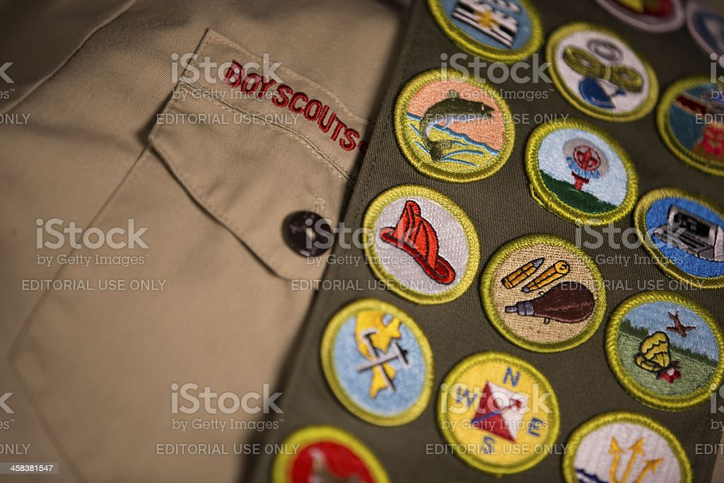 Merit badges on Boy Scout uniform stock photo