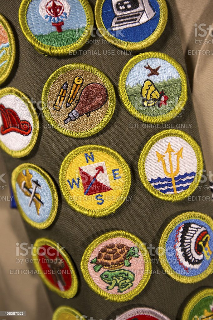 Merit badges on scout uniform stock photo