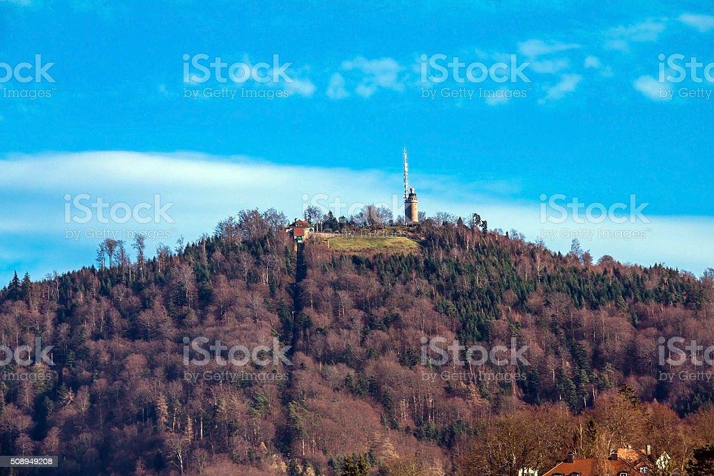 Merkur mountain. Baden-Baden stock photo