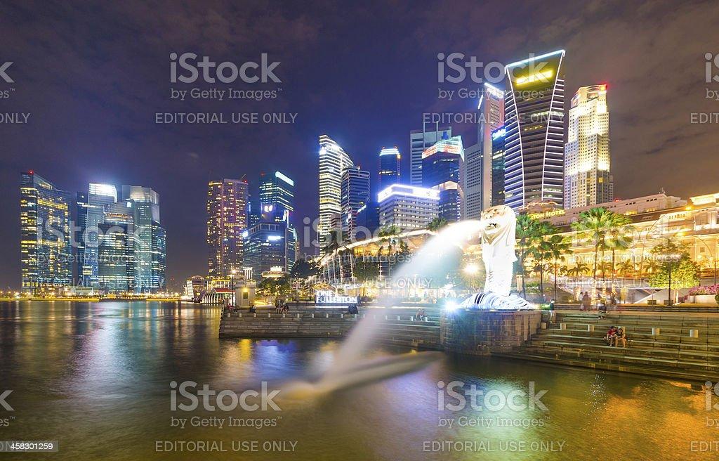 Merlion and Singapore City Skyline at Dusk royalty-free stock photo