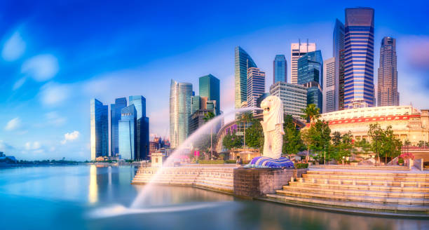 Merlion and Singapore city skyline SINGAPORE CITY, SINGAPORE: APRIL 12, 2015: Sunrise at Merlion and Singapore city skyline with Singapore Flyer merlion statue stock pictures, royalty-free photos & images